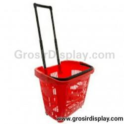 Keranjang Shopping Plastik Troli Roda Flamingo Keranjang Belanja Minimarket Perlengkapan Toko Supermarket