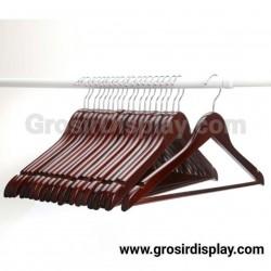 Hanger Kayu Palang Dewasa Coklat Tua Pajangan Kaos Baju Perlengkapan Butik Distro