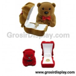 Display Kotak Cincin Beruang Beludru Pajangan Stand Ring Lamaran Seserahan Perlengkapan Pernikahan