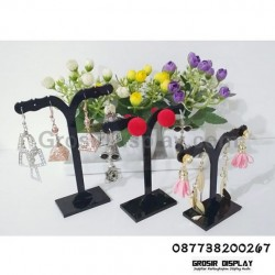 Akrilik Display Anting Giwang Set Isi 3 Pohon T Mini Hitam