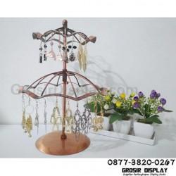 Display Anting Giwang Logam Lapis Payung Putar 2 Susun