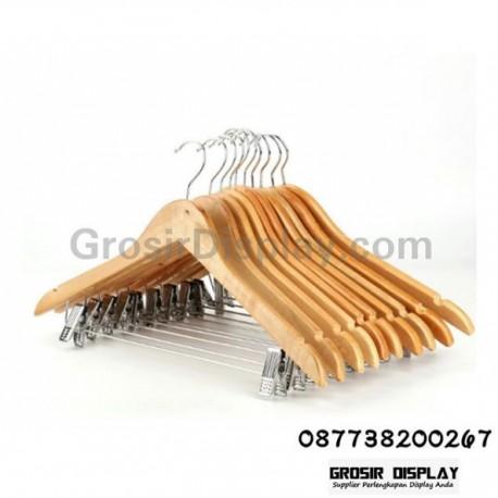 Hanger Kayu Natural Palang Jepit Baju Celana Eksklusif