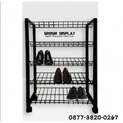 Rak Tempat Sepatu Dan Sandal 5 Susun Display Sepatu Hitam Kaki Roda