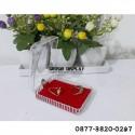 Display Tempat Kalung Liontin Box Bludru Merah Kotak Persegi Kristal Mika