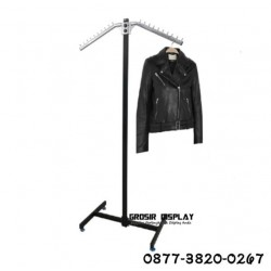 Gantungan Baju Gawangan Hanger Stainless Butik Toko Pakaian Berdiri