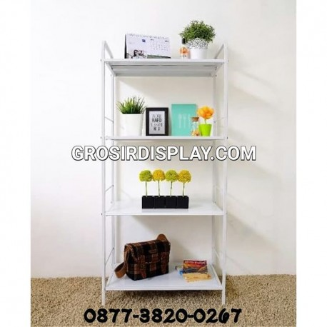 Rak Besi Putih 4 Susun Furniture Rak Pajangan Perlengkapan Rumah Tangga