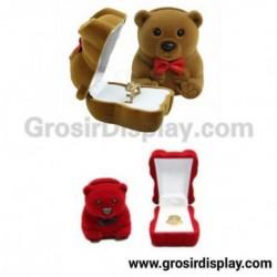 Display Kotak Cincin Beruang Besar Beludru Pajangan Stand Ring Lamaran Seserahan Perlengkapan Pernikahan