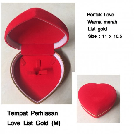 Kotak Tempat Perhiasan Love List Gold Medium Display Anting Kalung Cincin