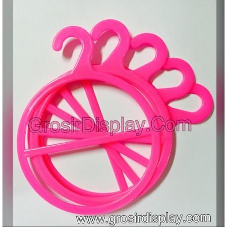 Hanger Gantungan Jilbab Display Kerudung / Syal Bulat Pink isi 2 Butik